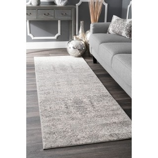 nuLOOM Vintage Inspired Abstract Floral Heart Grey Runner Rug (2'8 x 8')