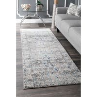 """nuLOOM Vintage Inspired Abstract Mosaic Diamonds Blue Runner Rug (2'8 x 8') - 2'8"""" x 8'"""