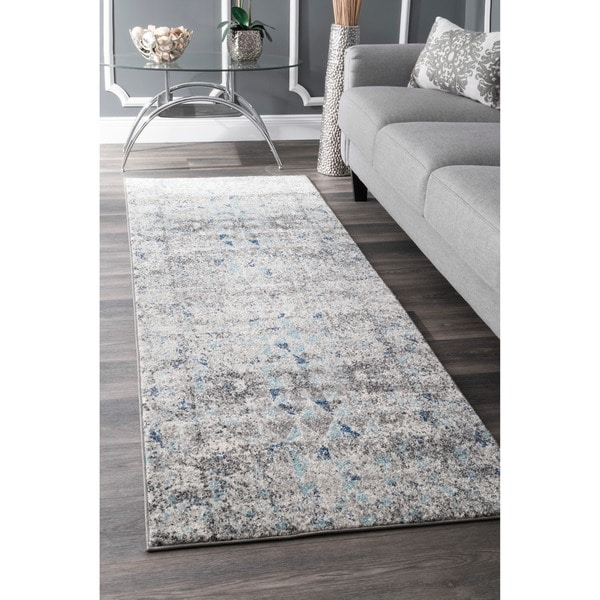 nuLOOM Vintage Inspired Abstract Mosaic Diamonds Blue Runner Rug (2'8 x 8')