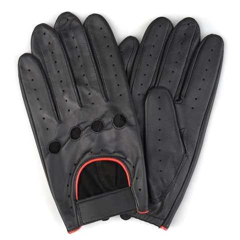 Vance Co. Men's Perforated Motorcycle Genuine Leather Driving Gloves