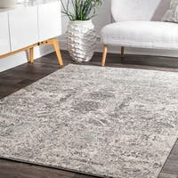 nuLoom Grey Vintage-inspired Abstract Floral Heart Rug (8'x10')