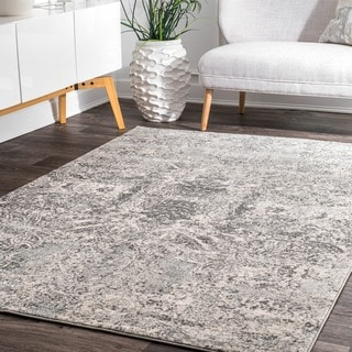 nuLOOM Grey Vintage-inspired Abstract Floral Heart Area Rug