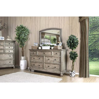 Furniture of America Fenemi 2-piece Wire-Brushed Grey Dresser and Mirror Set