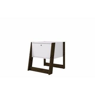 Manhattan Comfort Salvador White and Dark Oak 1-drawer Nightstand