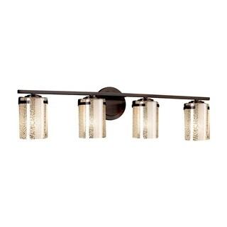 Justice Design Group Fusion Atlas 4-light Dark Bronze Bath Bar, Mercury Cylinder - Flat Rim Shade