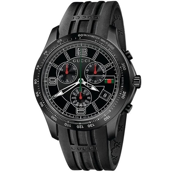 04e6dd35776 Shop Gucci Men s Black Rubber Chronograph Watch - Free Shipping Today -  Overstock - 17352832