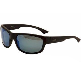 Smith Optics Dover Matte Black Frame Polarized Blue Mirror Lens Sunglasses