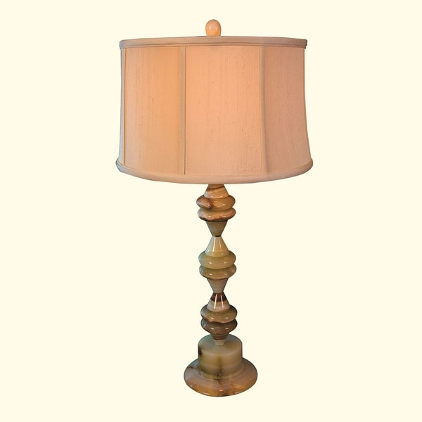 "30.5"" Tall Onyx Table Lamp ""Saturnia"" with Linen Shade, Chartreuse"