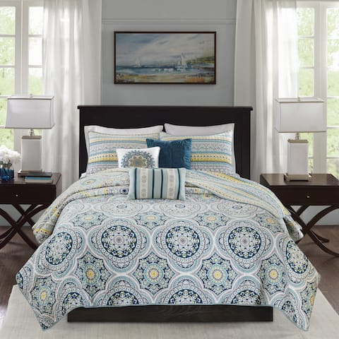 Madison Park Delta Teal 6 Pieces Reversible Cotton Sateen Printed Coverlet Set