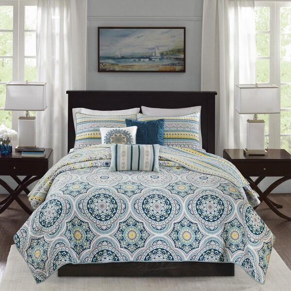 Madison Park Delta Teal 6 Pieces Reversible Cotton Sateen Printed Coverlet Set