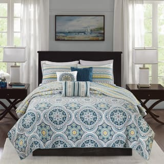 Madison Park Delta Navy 6 Pieces Reversible Cotton Sateen Printed Coverlet Set|https://ak1.ostkcdn.com/images/products/17353323/P23596218.jpg?impolicy=medium