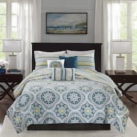 Madison Park Delta Navy 6 Pieces Reversible Cotton Sateen Printed Coverlet Set