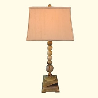 """31"""" Tall Onyx Table Lamp """"Obelix"""" with Linen Shade, Chartreuse"""