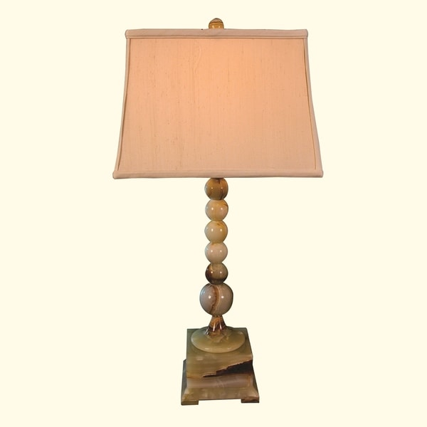 "31"" Tall Onyx Table Lamp ""Obelix"" with Linen Shade, Chartreuse"