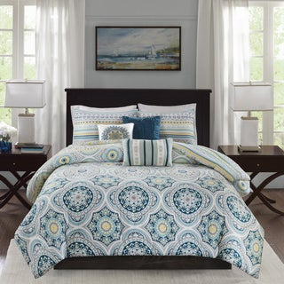 Madison Park Delta Navy 6 Pieces Reversible Cotton Sateen Printed Duvet Cover Set - Comforter Insert Not Included
