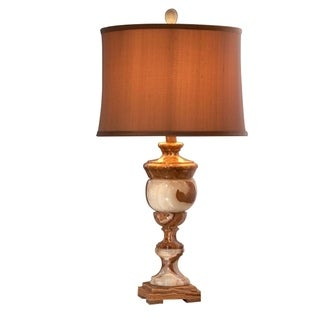"""31"""" Tall Marble Table Lamp """"Arduina"""" with Linen Shade, Beige"""