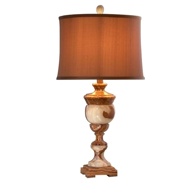 "31"" Tall Marble Table Lamp ""Arduina"" with Linen Shade, Beige"