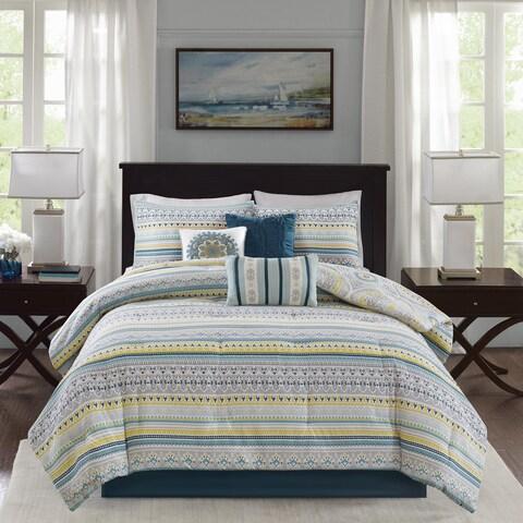 Madison Park Delta Teal 7 Pieces Reversible Cotton Sateen Printed Comforter Set