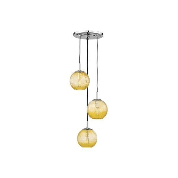 Hudson Valley Rousseau Polished Chrome Metal 3-light Cluster Pendant, Light Amber Glass