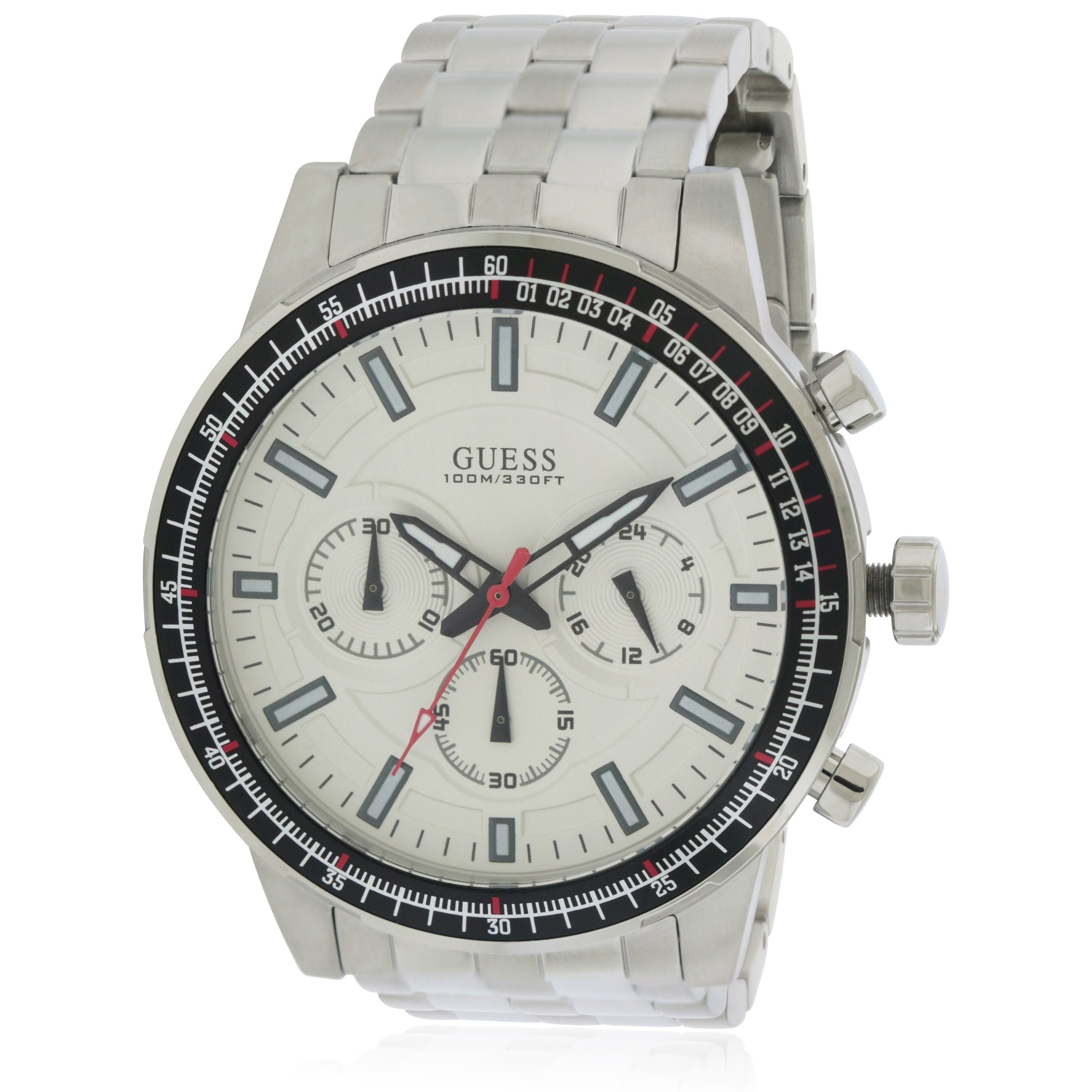 Guess Stainless Steel Chronograph Mens Watch U0801G1, Whi...