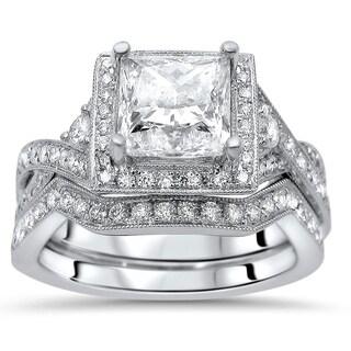 Noori 1 2/5ct Princess Cut Moissanite Center 2/5ct Diamond Surrounding Engagement Ring Bridal Set 18k White Gold