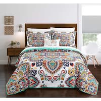Chic Home Maha 8-Piece Reversible Aqua Paisley Quilt and Sheet Set