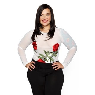 Xehar Womens Plus Size Sheer Rose Embroidery Bodysuit Top