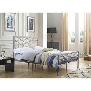 hodedah silver pewter metal fullsize crossback platform bed