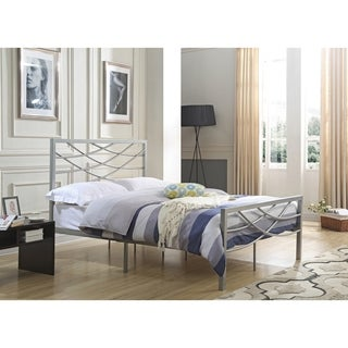 Hodedah Metal Full Size Cross back Platform Bed