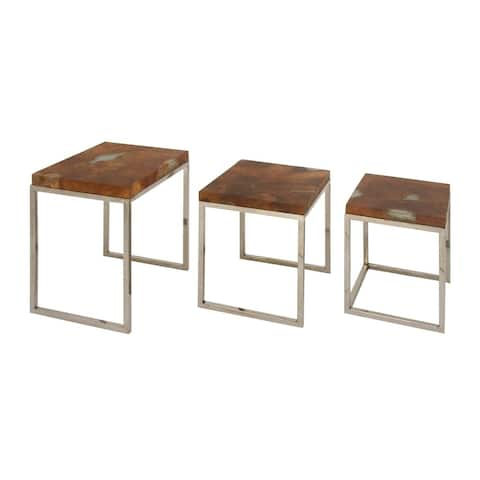 Studio 350 Teak Stainless Steel Table Set of 3, 17 inches, 19 inches, 22 inches high