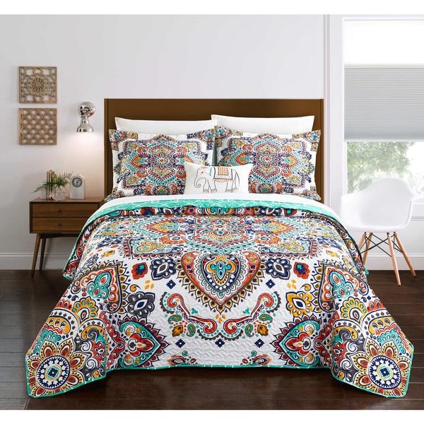 Chic Home Maha 4-Piece Reversible Aqua Globally Inspired Paisley Quilt Set