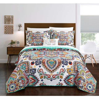 Chic Home Maha 4-Piece Reversible Aqua Globally Inspired Paisley Quilt Set