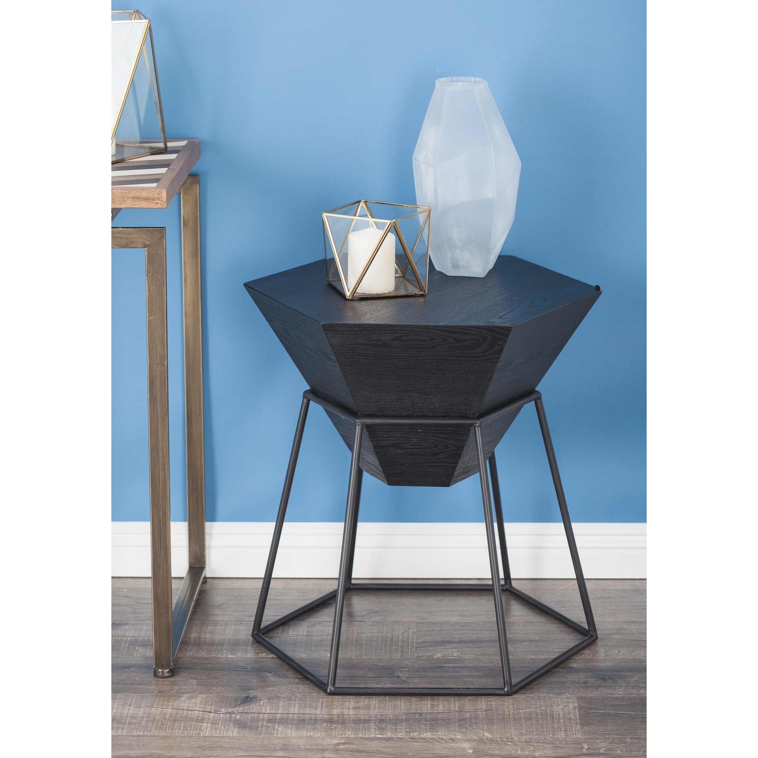 Studio 350 Wood Metal Hex Accent Table 22 inches wide, 24...