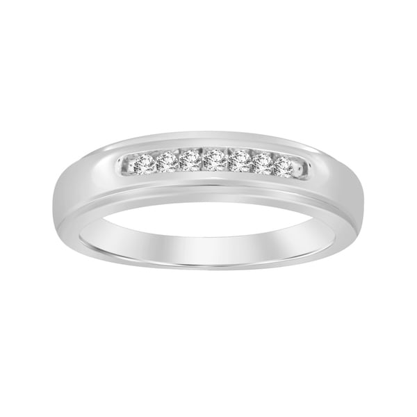b4935073 Shop 1/6 cttw Round White Natural Diamond Men's Band Ring 10K White ...