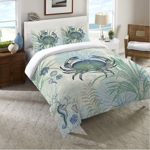 Laural Home Blue Creature of the Sea Duvet Cover