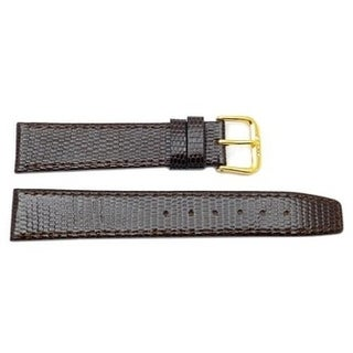 Genuine Leather Flat Lizard Grain Long Brown Watch Band (6mm to 14mm)