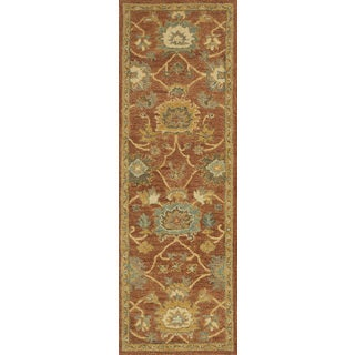 Alexander Home Hand-hooked Prescott Rust/ Gold Wool Runner Rug - 2'6 x 7'6