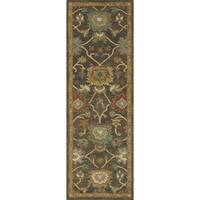 Prescott Charcoal/ Gold Wool Hand-hooked Runner Rug - 2'6 x 7'6