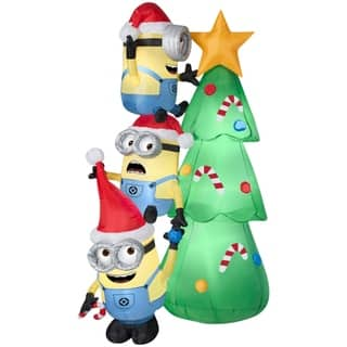 christmas airblown inflatable minions decorating tree scene - Snoopy Blow Up Christmas Decorations