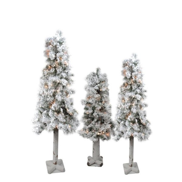 3 Pre Lit Christmas Tree.Set Of 3 Pre Lit Flocked Woodland Alpine Artificial Christmas Trees 3 4 And 5 Clear Lights