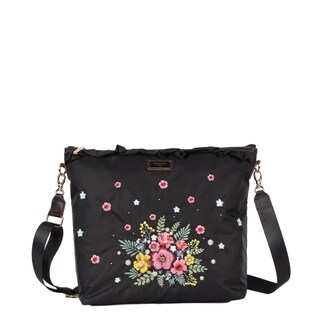 Nicole Lee Black Embroidered Design Nylon Leather Trimming Crossbody Bag