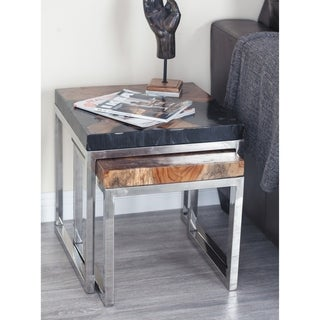 Studio 350 Teak Aluminum Resin Table Set of 2, 16 inches, 19 inches high