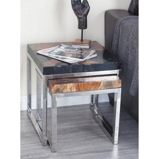 Studio 350 Teak Aluminum Resin Table Set Of 2, 16 Inches, 19 Inches High