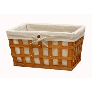 Large Woodchip Basket Bin with Beige Liner