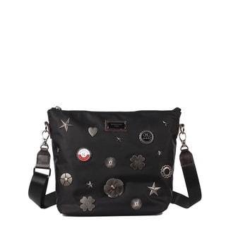 Nicole Lee Black Nylon Metallic Design Studs Leather Trimming Crossbody Bag