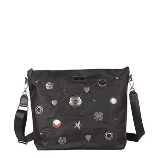 Nicole Lee Black Nylon Metallic Design Studs Leather Trimming Crossbody Bag