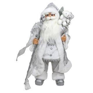 """24"""" Winter Frost Standing White and Silver Santa Claus with Staff and Gift Bag Christmas Figure"""
