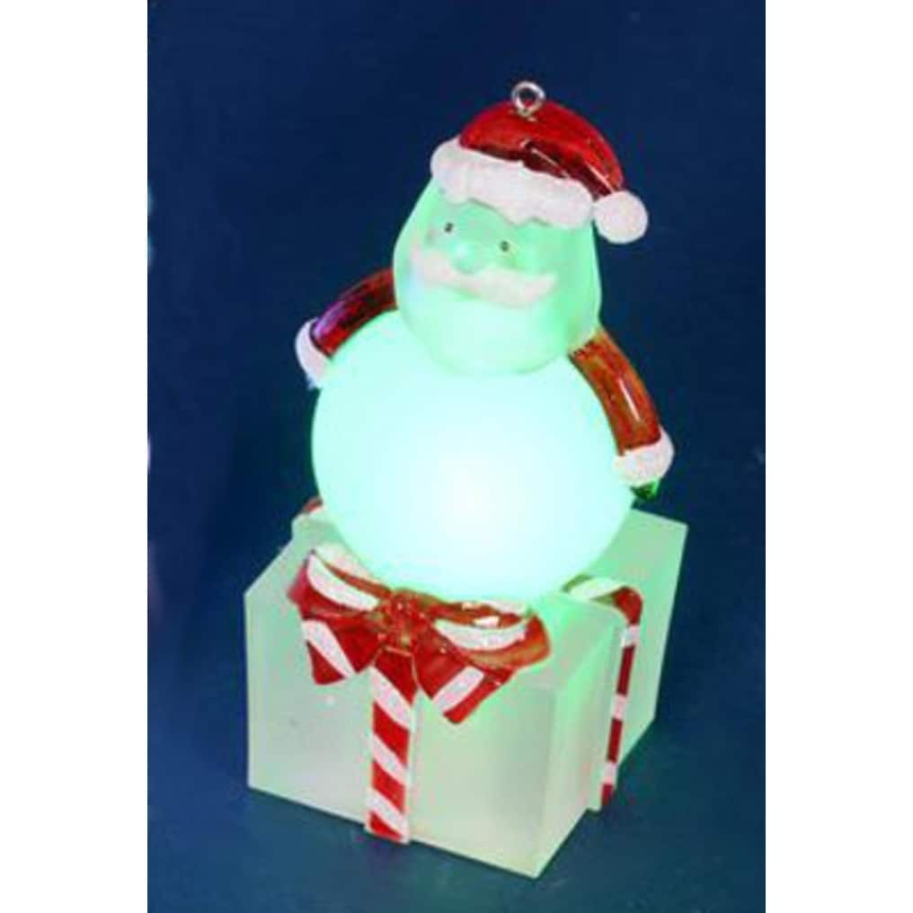 """Penn 4"""" LED Lighted Color-Changing Santa on Present Table..."""