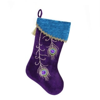 "18.5"" Regal Peacock Metallic Embroidered Feathers Velvet Christmas Stocking with Gold Tassel"