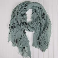 "Tickled Pink Branches & Leaves Lightweight Scarf  - 38 x 70"",  Sage"